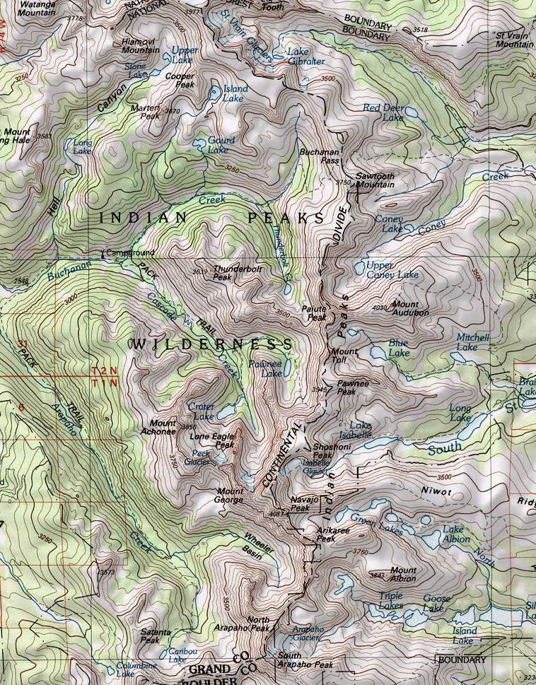 Indian Peaks Map