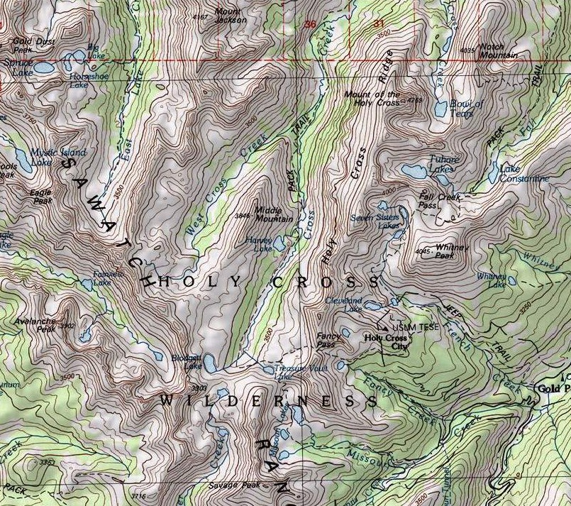 Map of the Holy Cross Wilderness Area