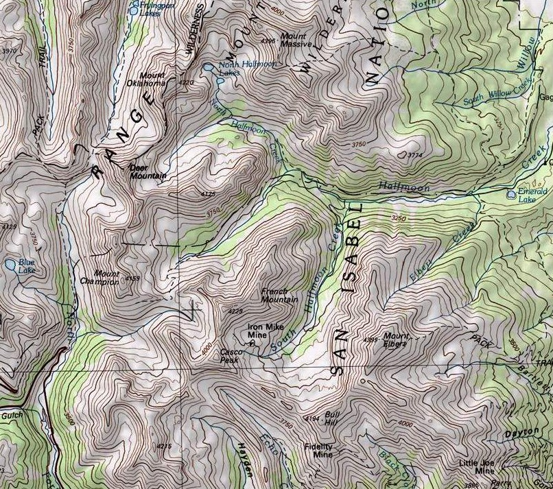 Map of the Central Sawatch Range