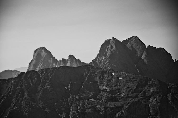 Crestone Needle and Crestone Peak Black and White