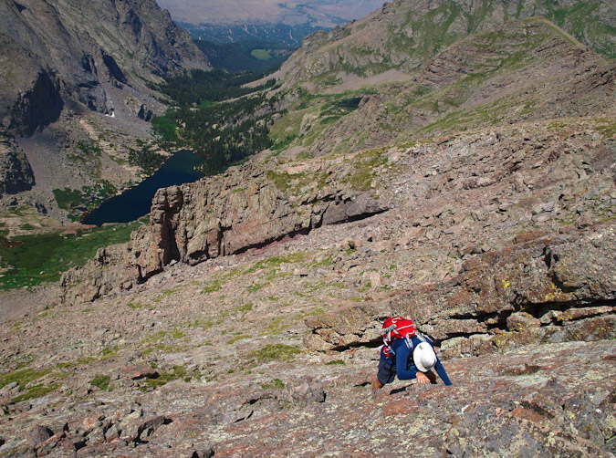 Downclimbing to Willow Lake