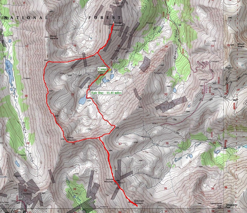 Boulder, Mamma, Grizzly, Lo Carb, Cyclone and Carbonate Route Map