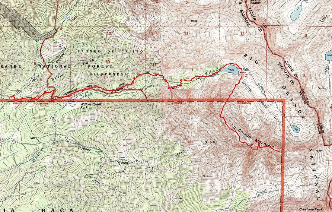 Kit Carson Mountain Route Map