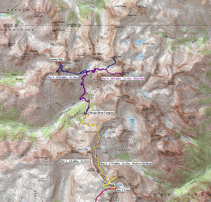 Chicago Basin Trail Map
