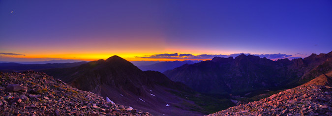 HDR Panoramic at sunset near Chicago Basin