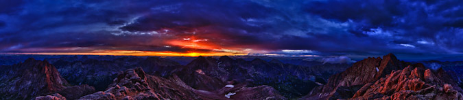 Sunrise panoramic from North Eolus in HDR