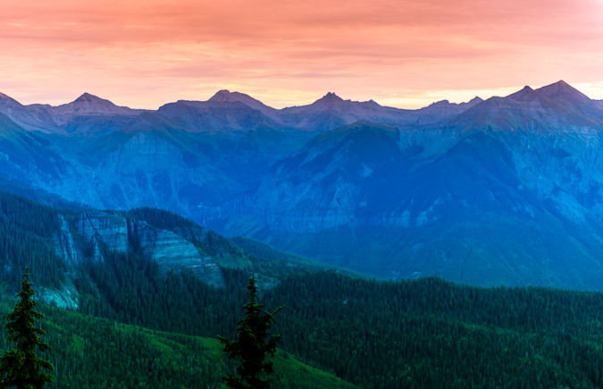 Early light in the San Juans above Telluride