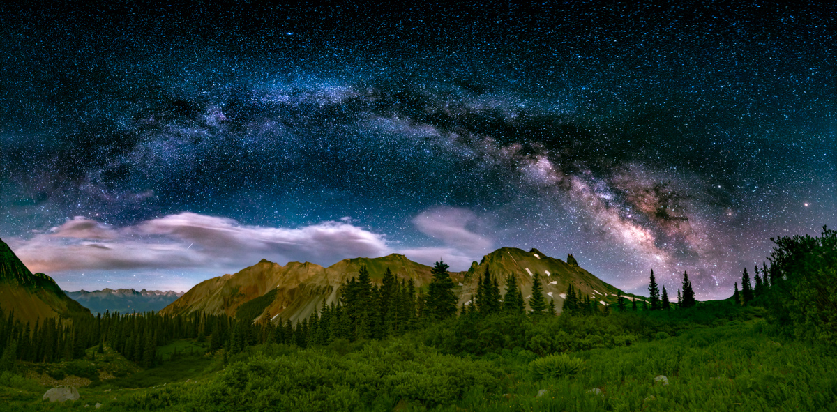 Milky Way panorama over Lizard Head Peak and Telluride