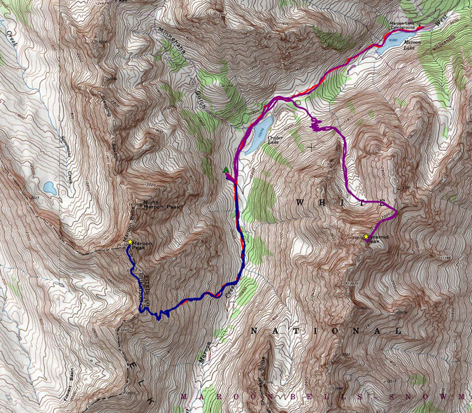 Maroon Bells and Pyramid route topo map