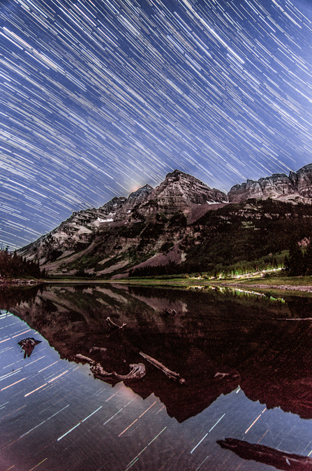 Star Trails over the Maroon Bells and Crater Lake