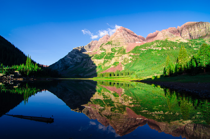 Maroon Bells from Crater Lake