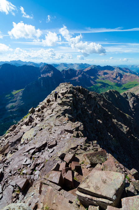 The last summit ridge of Maroon Peak