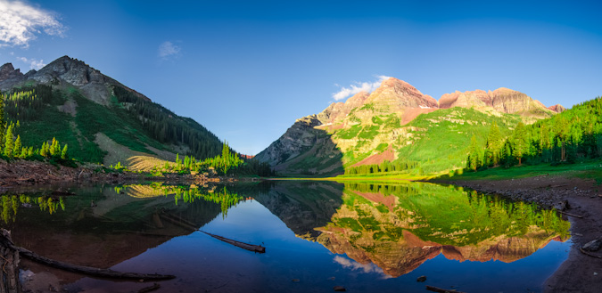 Maroon Bells at Crater Lake - Panorama