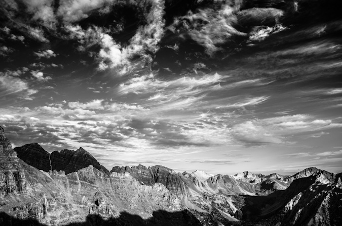 Maroon Bells, Snowmass Mountain and Capitol Peak Black and White