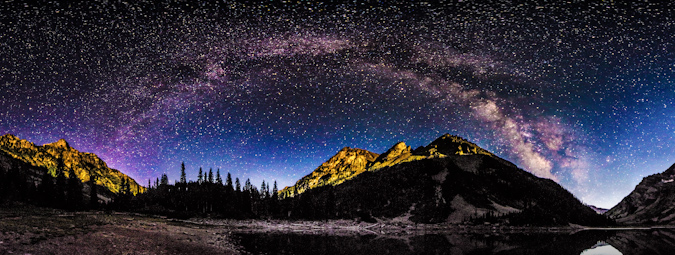 Milky Way Panoramic over Crater Lake and the Pyramid Peak massif