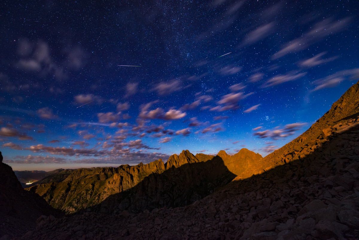 Perseid Meteor Shower from the Pigeon Turret saddle