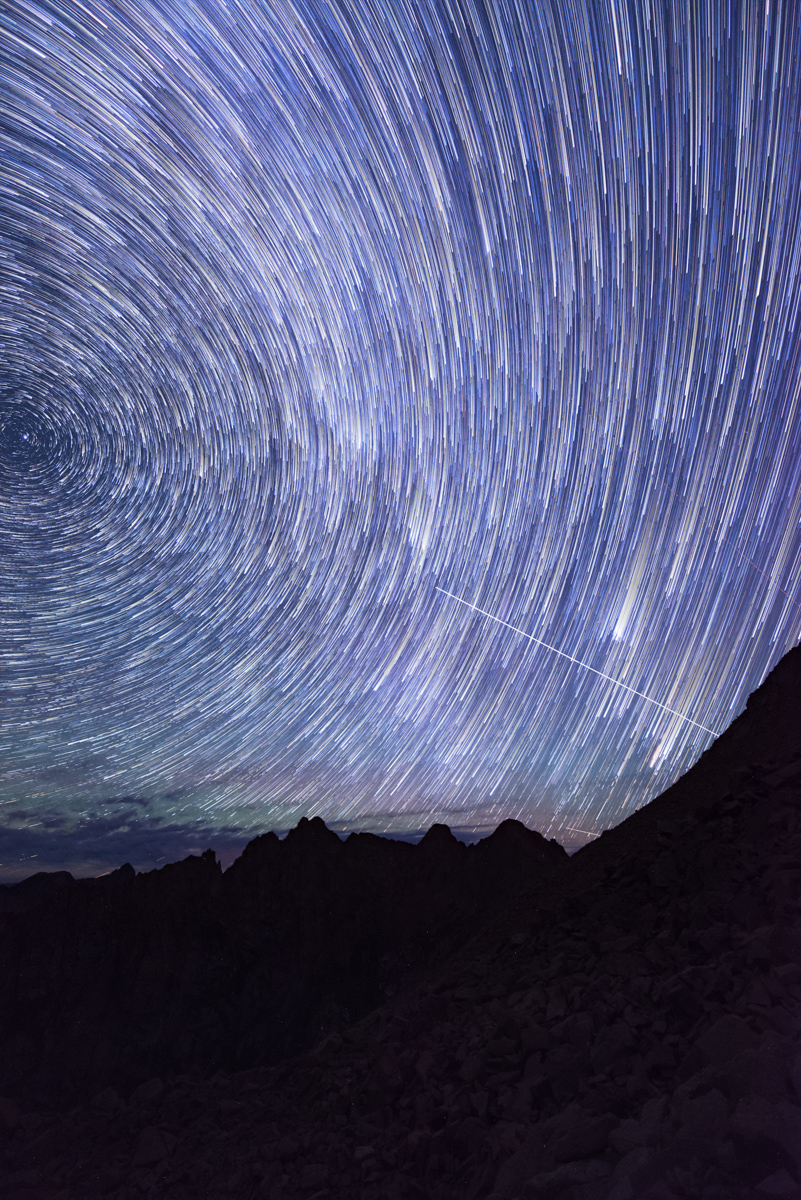 Star trails over the Needle Mountains