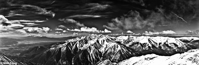Looking South from Mount Princeton Black and White