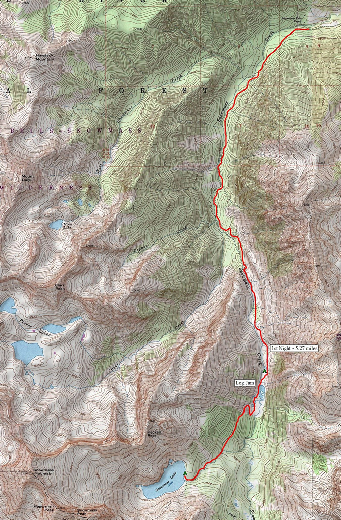 Snowmass Lake Route Map