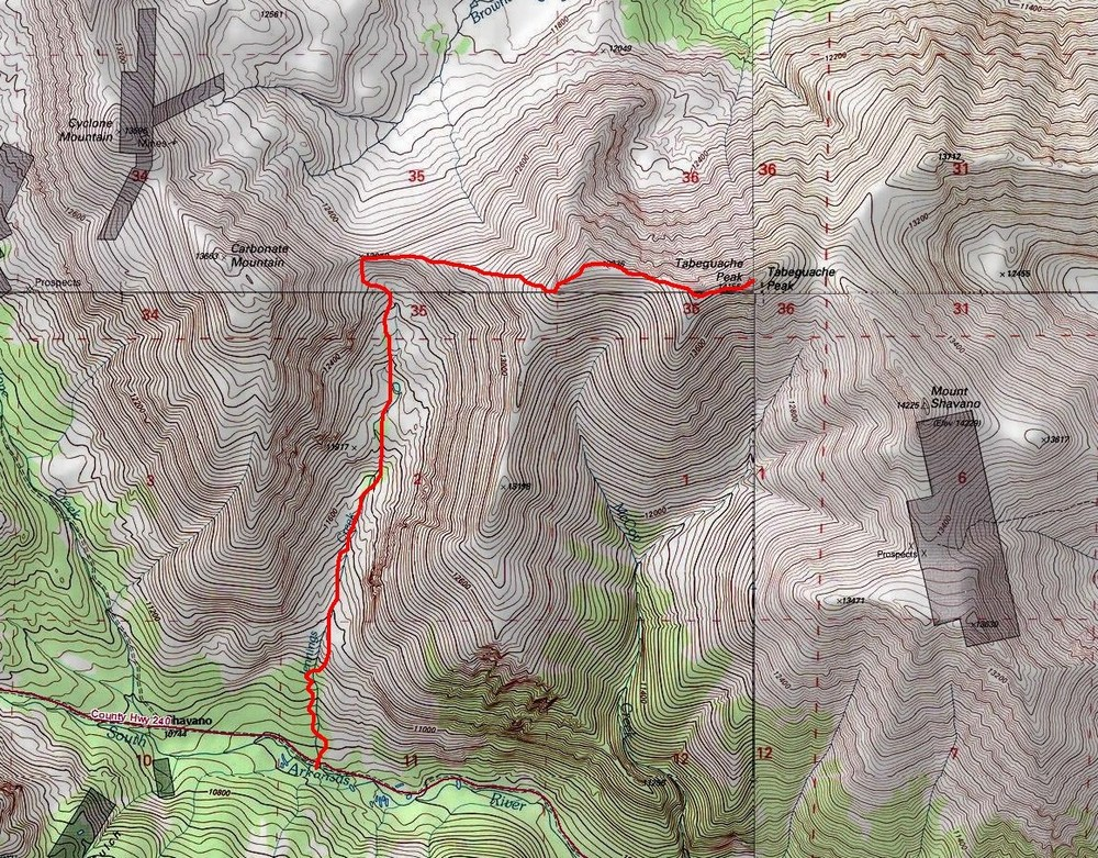 Tabeguache Route Map - Jennings Creek