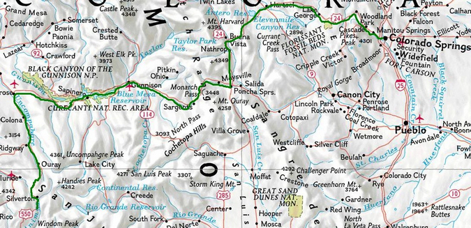 Map of Drive to Molas Pass from Colorado Springs