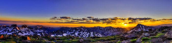 Panoramic of Coxcomb and Uncompahgre from Wetterhorn at Sunrise in HDR