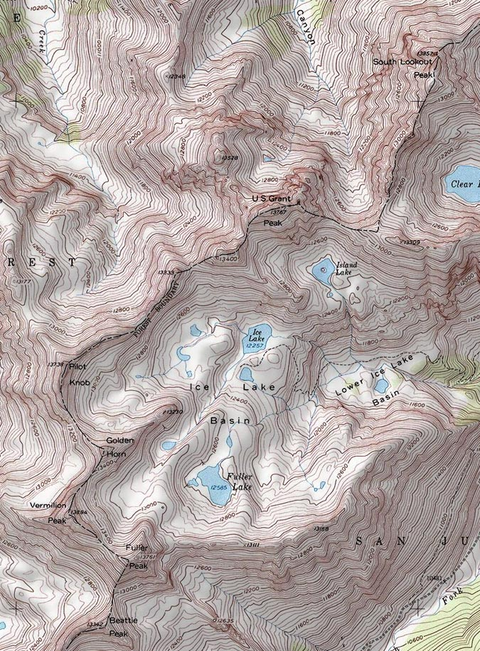 Ice Lake Basin Map