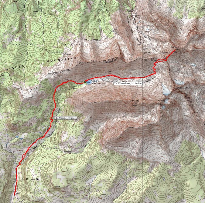 Wilson Peak Route Map